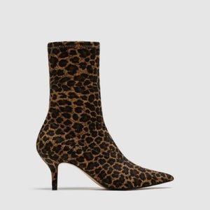 Zara leopard sock heel